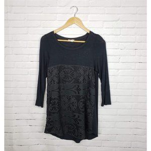 Anthro Meadow Rue Lace Black Knit Blouse